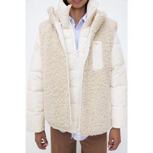 NEW Zara 2-in-1 Faux Shearling Teddy Vest & Jacket